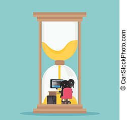 Business illustration concept Business woman working hard in a large hourglass.