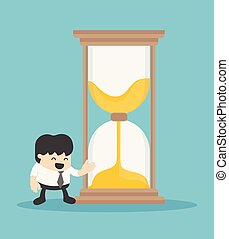 Business illustration concept businessman offering an hourglass to symbolize the time.