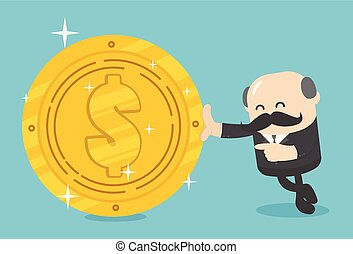 Business illustration concept Businessmen hold a huge dollar coin