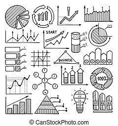 Business illustrations of charts, graphics and other different infographics elements. Pictures in hand drawn style