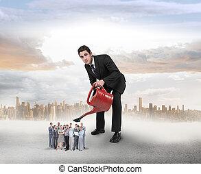 business, image composée, arrosage, minuscule, équipe, homme affaires