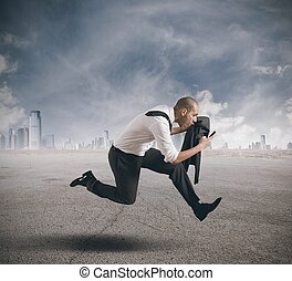 Business in action - Businessman running with mobile phone ...