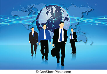 Business in action - Management team into action in an...