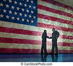 Business in America concept and deal making in the united states as two businesspeople shaking hands in agreement with a stars and stripes flag with gears and cogs texture in the background.