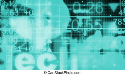 Business in blue looping background