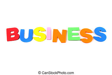 Business in colorful toy letters on white background