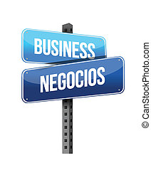 business in english and spanish sign illustration