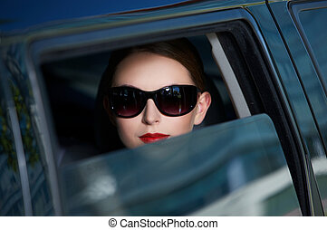 Business in Limo - Portrait of beautiful business woman ...
