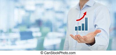 Business in progress - Businessman hold graph illustrating...