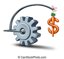 Business incentives as a financial metaphor with a stick and carrot shaped as a dollar sign leading a gear or cog wheel towards wealth and fortune as a symbol of incentive perks motivating and attracting new investment for future growth.