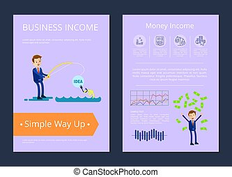 Business Income Simple Way Up Vector Illustration - Business...