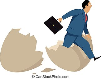A businessman hatching out of an egg as a metaphor for a business incubator, EPS 8 vector illustration