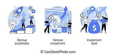 Business incubator abstract concept vector illustration set. Startup accelerator, venture investment fund, startup mentoring, business opportunity, angel investor, entrepreneur abstract metaphor.