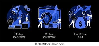 Business incubator abstract concept vector illustrations. Startup accelerator, venture investment fund, startup mentoring, business opportunity, angel investor, entrepreneur dark mode metaphor.