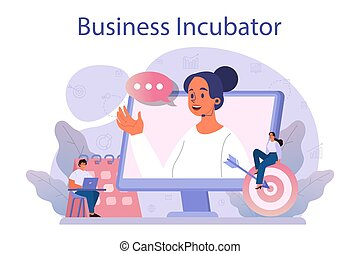 Business incubator concept. Business people and investors supporting new businesses. Money and professional assistance for start up project. Isolated flat vector illustration