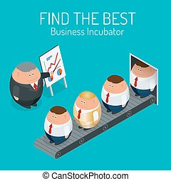 Business incubator Concept. Find the best start up. Flat 3d vector isometric illustration.