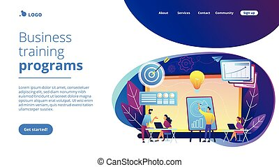 Company providing management training and office space. Business incubator, business training programs, shared administrative service concept. Website vibrant violet landing web page template.