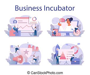 Business incubator concept set. Business people and investors supporting new businesses. Money and professional assistance for start up project. Isolated flat vector illustration