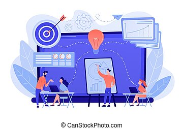 Company providing management training and office space. Business incubator, business training programs, shared administrative service concept. Pinkish coral bluevector isolated illustration