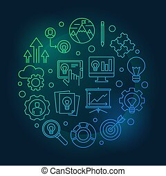 Business Incubator outline colored illustration. Vector business startup bright sign in thin line style on dark background