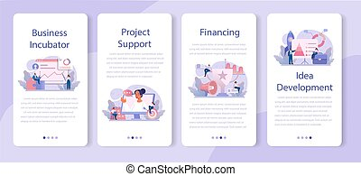 Business incubator mobile application banner set. Business people and investors supporting new businesses. Money and professional assistance for start up project. Isolated flat vector illustration