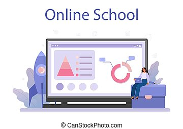 Business incubator online service or platform. Business people and investors supporting new businesses. Online school. Isolated flat vector illustration