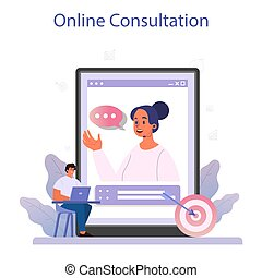 Business incubator online service or platform. Business people and investors supporting new businesses. Online consultation. Isolated flat vector illustration