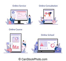 Business incubator online service or platform set. Business people and investors supporting new businesses. Online service, school, consultation, course. Isolated flat vector illustration