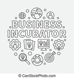 Business Incubator round vector concept illustration in thin line style