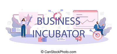 Business incubator typographic header. Business people and investors supporting new businesses. Money and professional assistance for start up project. Isolated flat vector illustration
