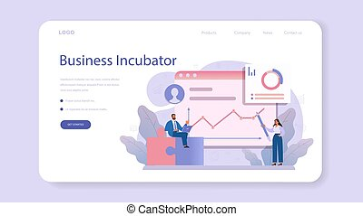Business incubator web banner or landing page. Business people and investors supporting new businesses. Money and professional assistance for start up project. Isolated flat vector illustration