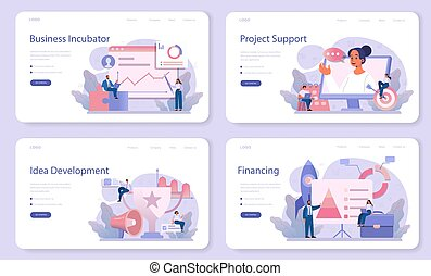 Business incubator web banner or landing page set. Business people and investors supporting new businesses. Money and professional assistance for start up project. Isolated flat vector illustration