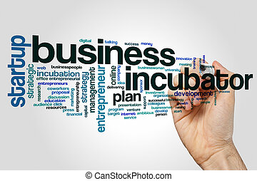 Business incubator word cloud concept on grey background