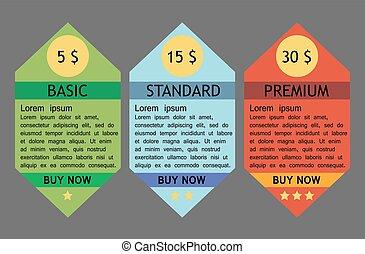 Business info graphics tabs template for presentation, education, web design, banner, brochure, tariff cards. Vector illustration
