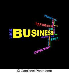 Business info-text graphics arrangement concept on black background