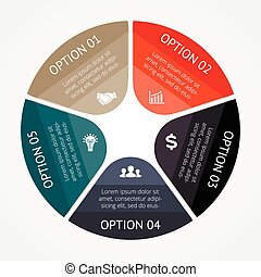 business, infographic, diagramme, 5, cercle, options
