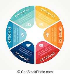 business, infographic, diagramme, 6, cercle, options