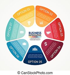 business, infographic, diagramme, 7, cercle, options