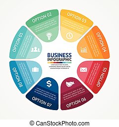 business, infographic, diagramme, 8, cercle, options