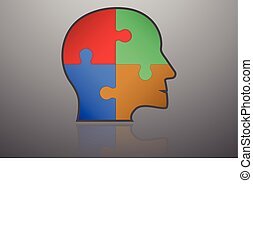 Business infographic element. Head shape icon with flat color puzzle pieces inside. Connected jigsaw in shape of human head with thick stroke with own reflection.