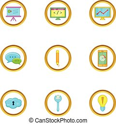 Business infographic icons set, cartoon style