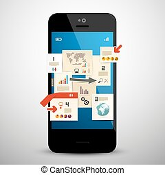 Business Infographic on Mobile Phone Vector Illustration