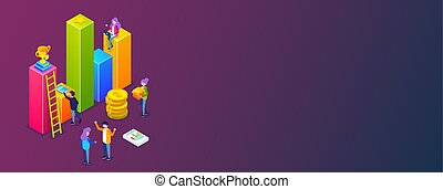 Business infographic or growth chart. small people build a business process. Discussion of plans for business development. Let to success. Vector isometric 3d illustration.