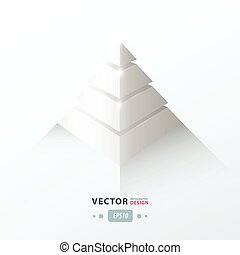 business, infographic, pyramide, blanc, couleur, 3d