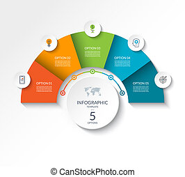 Business infographic semicircle template with 5 options. Can be used as a chart, workflow layout, diagram, data visualization, minimalistic web banner.