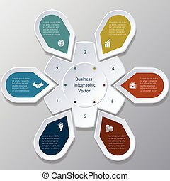 Infographic six Points arranged in circle gear - Business ...