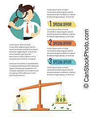 Business infographics banner with businessmen