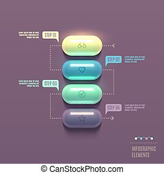 Business Infographics capsule concept. 3d vector...