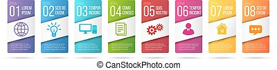 Business infographics cards or labels icons set