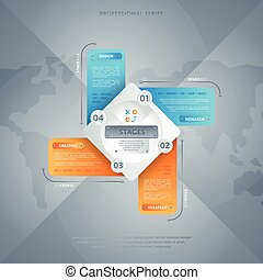 Business infographics concept with four stage